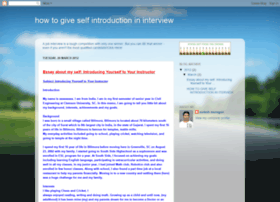 howtogiveselfintroductionininterview.blogspot.co.uk